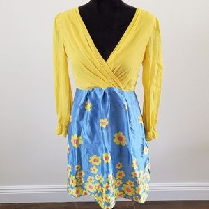 B2G1 Betsey Johnson Yellow/Blue Silk Floral Dress